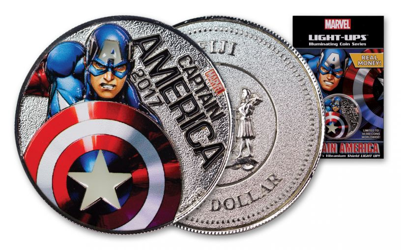 2017 Fiji 50 Cent Silver Plated Clad Captain America Light Up Specimen - Marvel Series