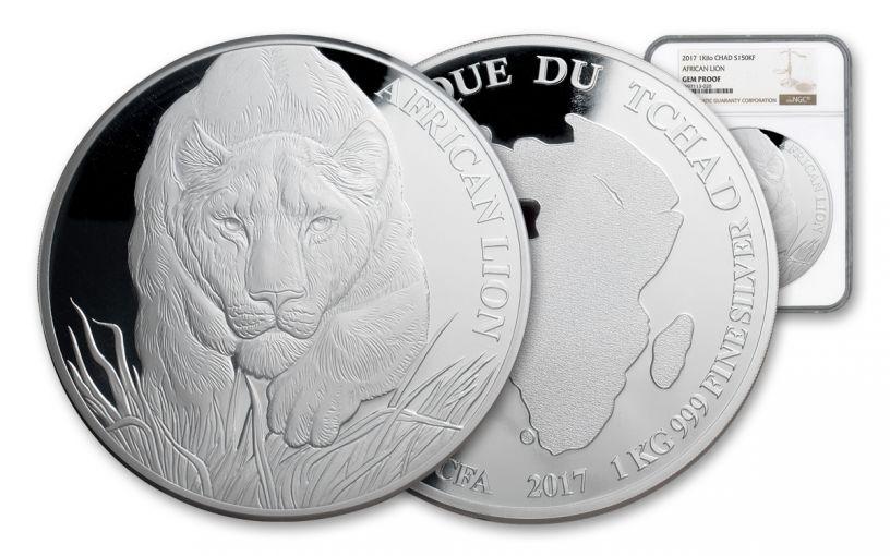 2017 Chad 150,000 Francs Kilo Silver African Lion NGC Gem Proof