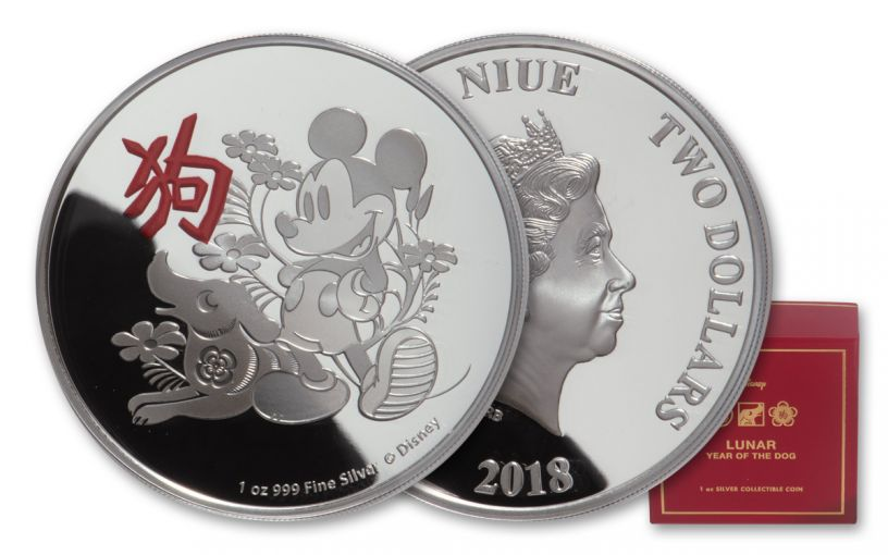 2018 Niue $2 1-oz Silver Disney Lunar Year of the Dog Proof