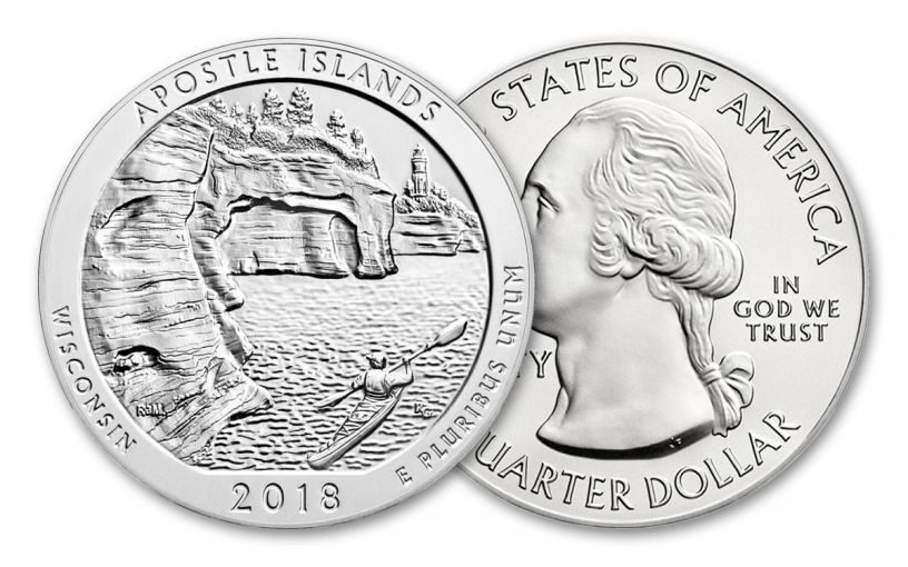 2018 25 Cent 5-oz Silver America The Beautiful Apostle Islands BU