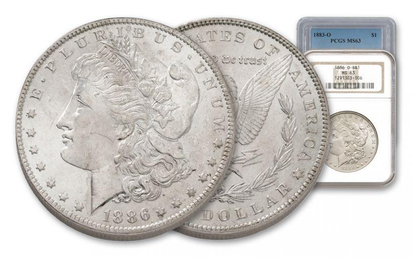 1883-1902-O Morgan Silver Dollar NGC/PCGS MS63 7pc