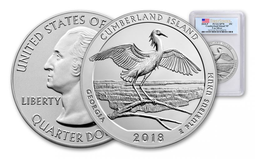 2018-P Cumberland Island National Seashore 5-oz Silver America the Beautiful PCGS SP70 FS Flag Label