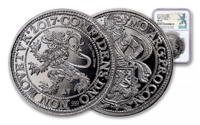 2017 Netherlands 1-oz Silver New York Lion Dollar NGC MS70 Lion Label