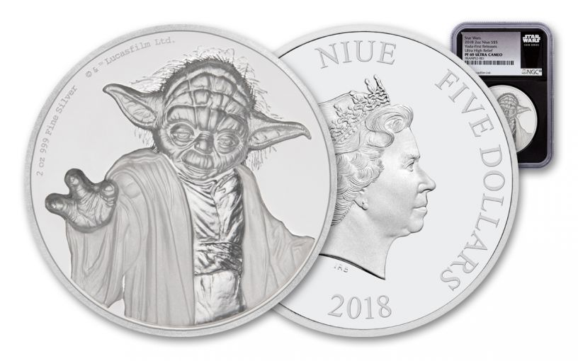 2018 Niue 5 Dollar 2-oz Silver Star Wars Yoda Ultra-High Relief NGC PF69 First Releases - Black