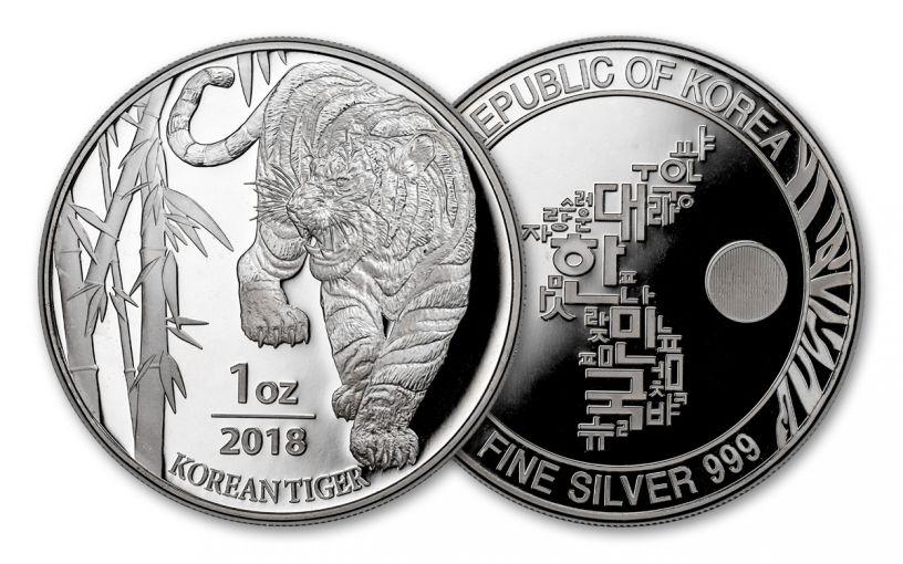 2018 South Korea 1-oz Silver Tiger BU