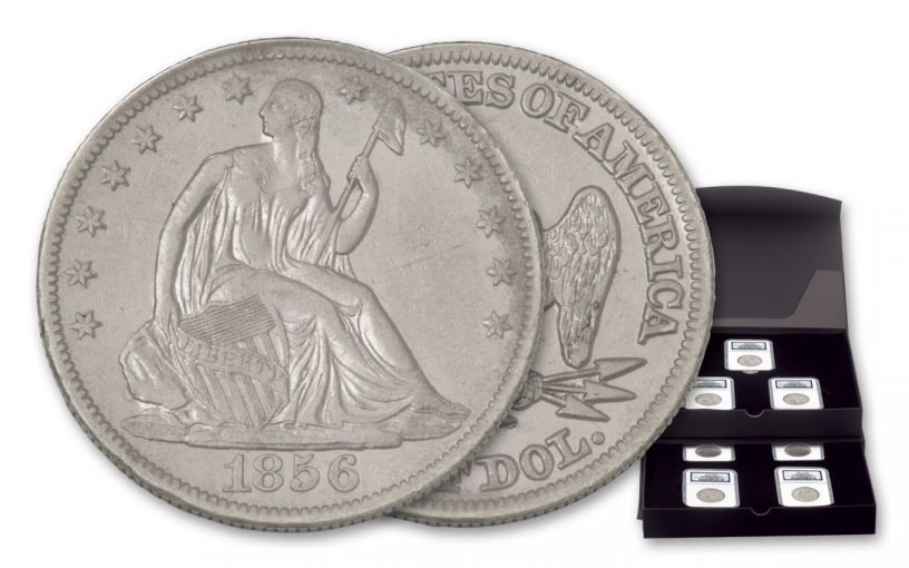 1854-1855-AW 1856-1860-O 50 Cent Seated Liberty Silver Half Dollar NGC Shipwreck SS Republic 7pc Set