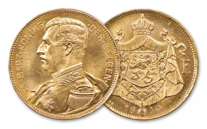 1914 Belgium 20 Francs Gold Albert I AU-BU
