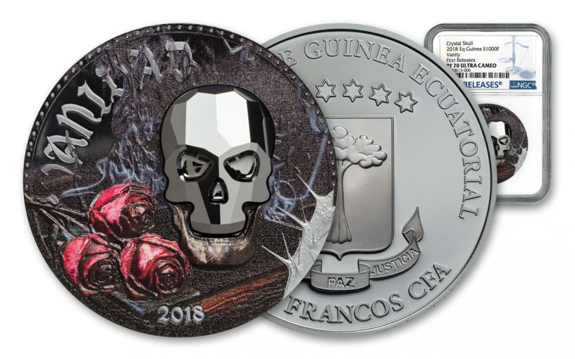 2018 Equatorial Guinea 1 Ounce Silver Crystal Skull Colorized NGC PF70UC First Releases 1000 Francs