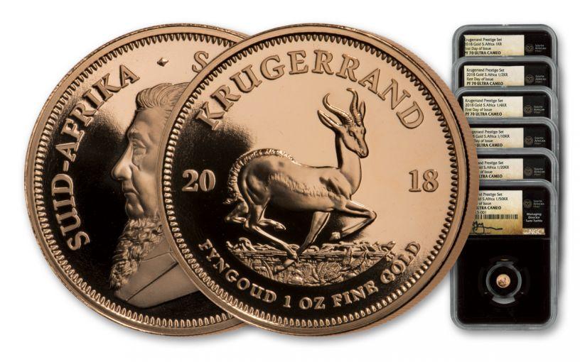 2018 South Africa Gold Krugerrand Prestige NGC PF70UCAM FDI Tumi Signed 6pc Set - Black