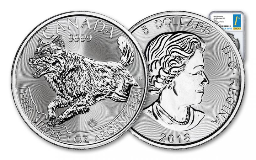 2018 Canada 5 Dollar 1-oz Silver Predator Series Wolf NGC MS70 First Day of Issue