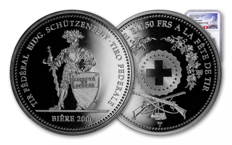 2000 Switzerland 50 Franc 25 Gram Shooting Festival Thaler – Biere Silver Proof NGC PF69UC Swiss Label