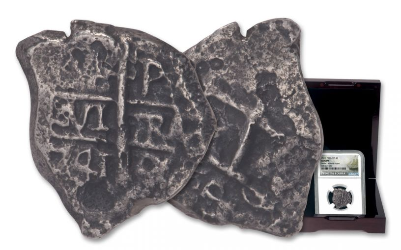 1556-1743 Spain Princess Louisa Shipwreck Silver 4 Reales NGC Genuine - Salvor's Reserve Hoard