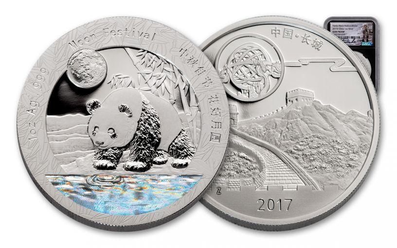 2017-Z China Moon Festival Panda 1-oz Silver Hologram NGC Gem Proof Charlie Duke Signed Black Core