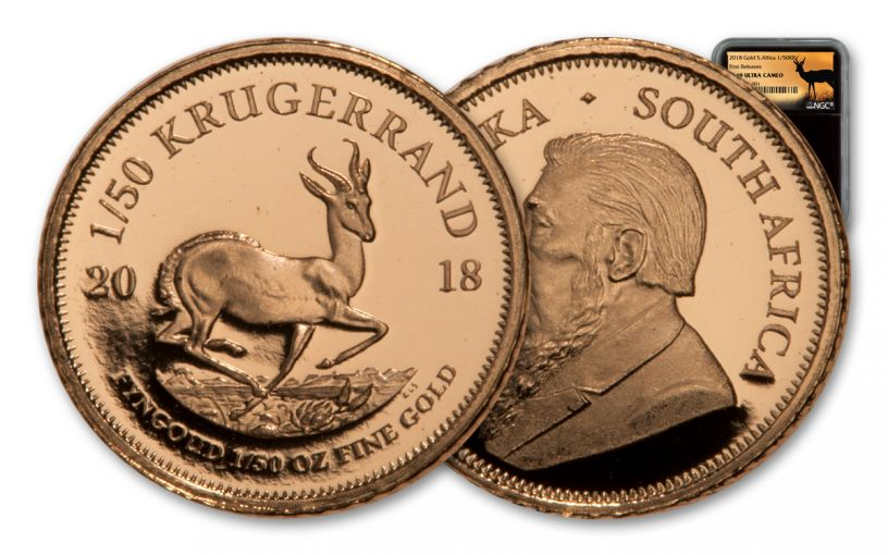2018 South Africa 1/50 Ounce Gold Krugerrand NGC PF69UC FR - Black Core