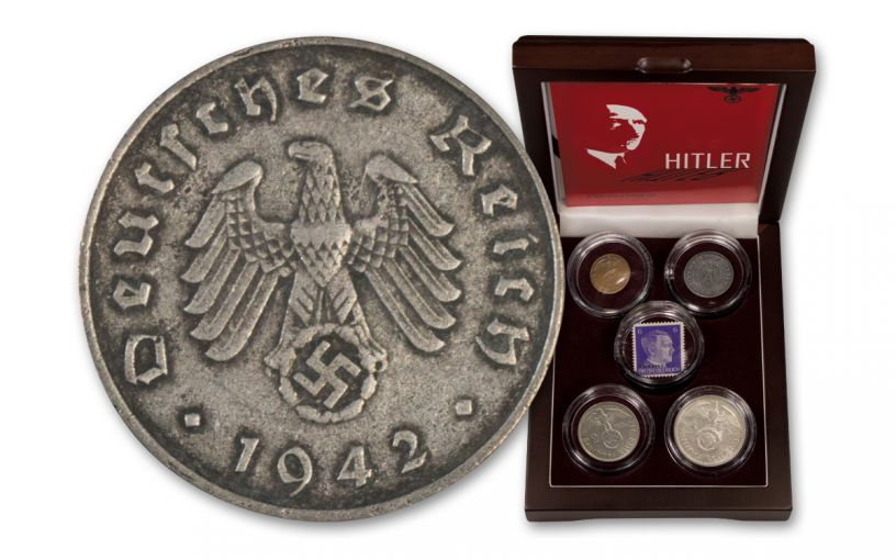 Germany 4-Piece 1936-1945 Hilter Coin Collection with Stamp