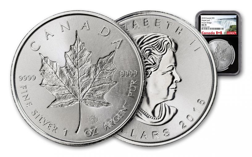 2018 Canada $5 1-oz Silver Incuse Maple Leaf NGC MS70 Black Core