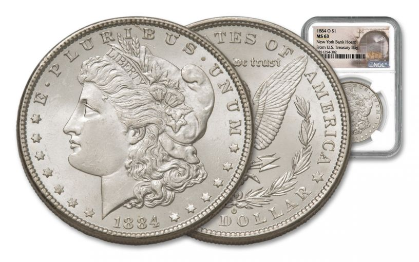 1884-O Morgan Silver Dollar New York Bank Hoard Treasury NGC MS63