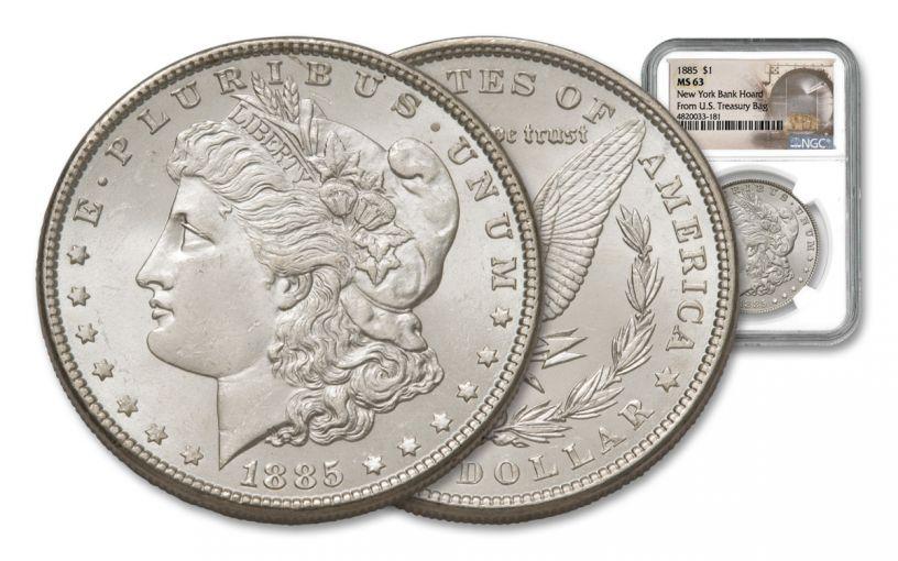 1885-P Morgan Silver Dollar New York Bank Hoard Treasury NGC MS63