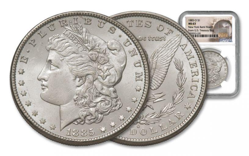 1885-O Morgan Silver Dollar New York Bank Hoard Treasury NGC MS63