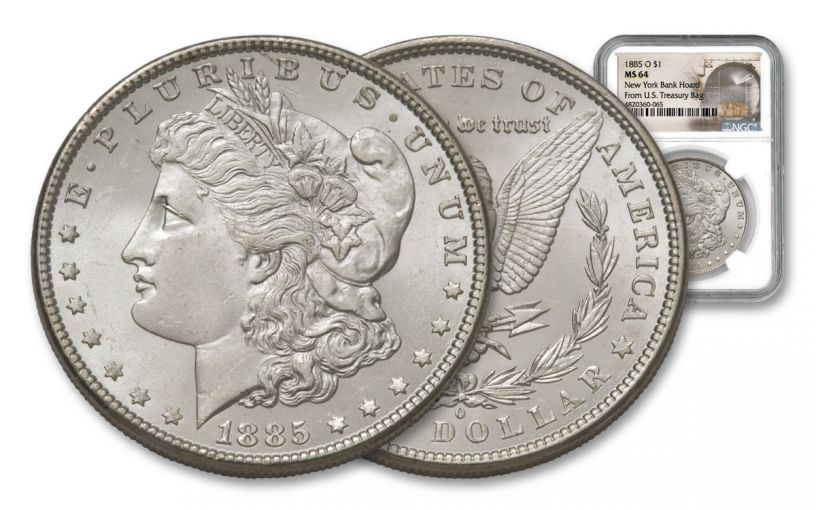 1885-O Morgan Silver Dollar New York Bank Hoard Treasury NGC MS64