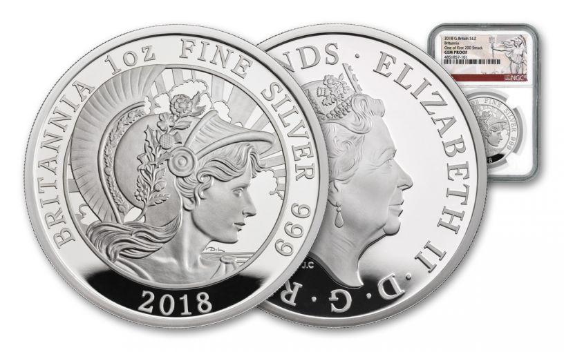 2018 Great Britain £2 1-oz Silver Britannia NGC Gem Proof First Strike