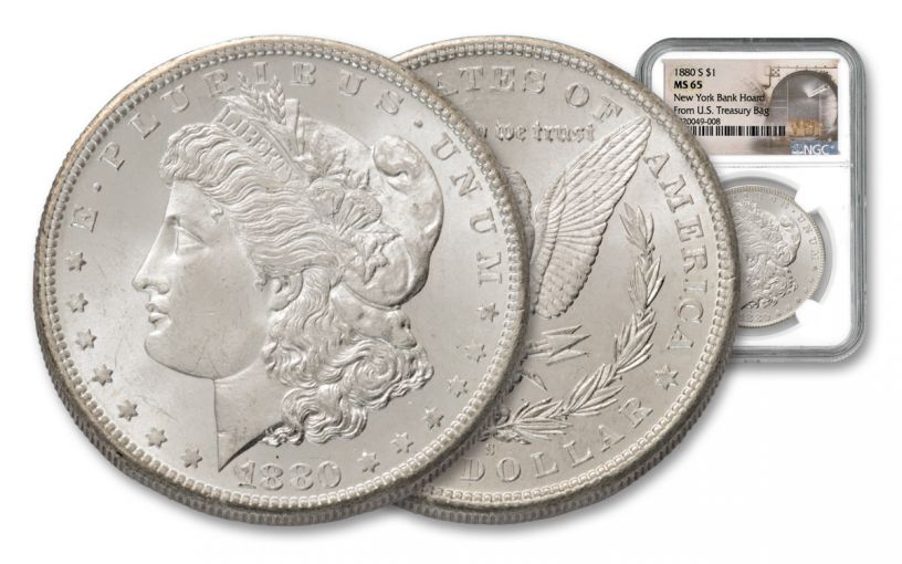 1880-S Morgan SIlver Dollar New York Bank Hoard Treasury NGC MS65