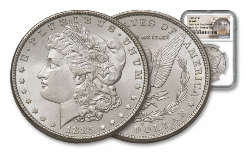 1885-O Morgan Silver Dollar New York Bank Hoard Treasury NGC MS65