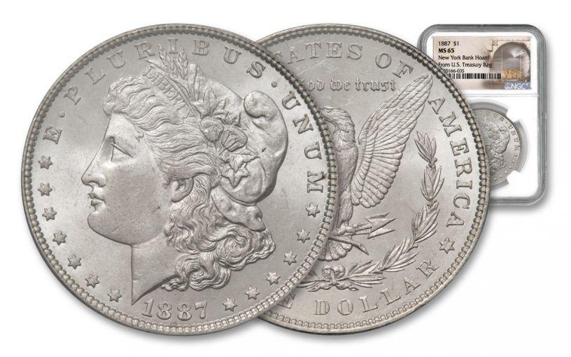 1887-P Morgan Silver Morgan New York Bank Hoard Treasury NGC MS65