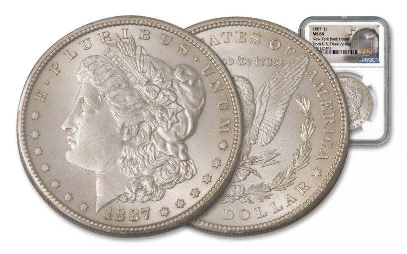 1887-P Morgan Dollar Silver New York Bank Hoard Treasury NGC MS66