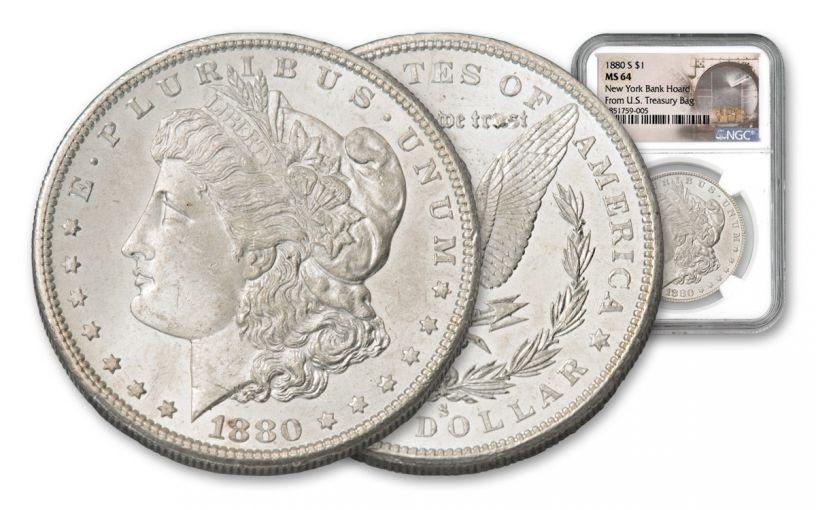1880-S Morgan Silver Dollar New York Bank Hoard Treasury NGC MS64 20-Piece Roll