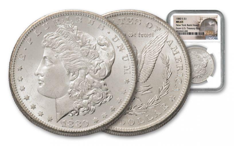 1880-S Morgan Silver Dollar New York Bank Hoard Treasury NGC MS65 20-Piece Roll