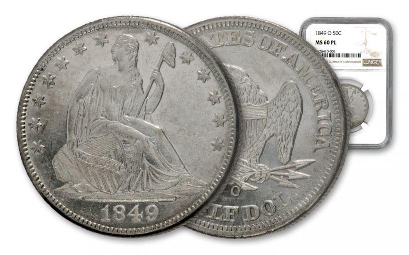1849-O Seated Liberty Half Dollar NGC MS60 PL