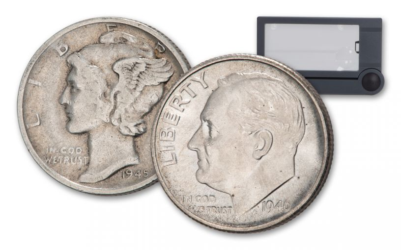 "2-Piece Dime Set 1945-S Mercury with Micro ""S"" XF & 1946 Roosevelt BU with Loupe"