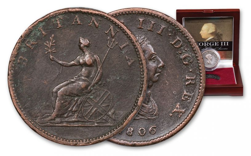 1760-1820 Great Britain George III AE Copper Half-Penny - The Last King of America