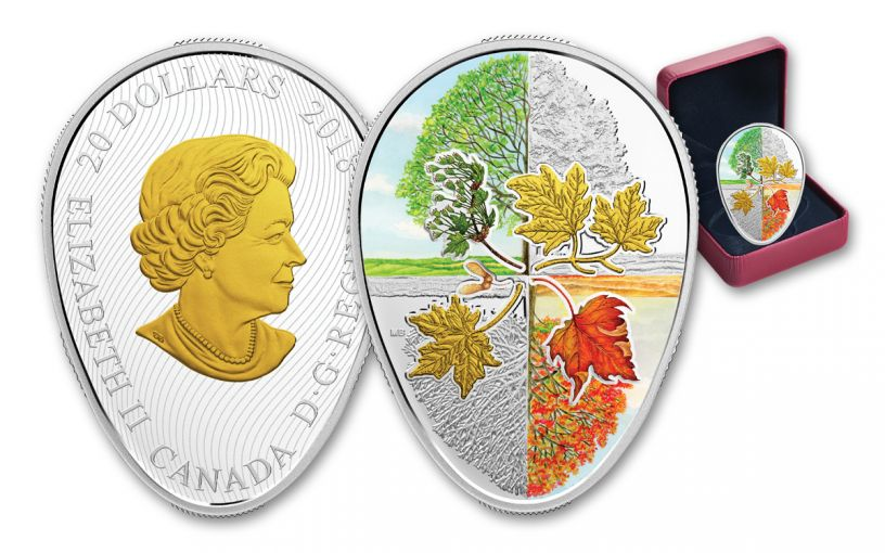 2018 Canada $20 1-oz Silver Four Seasons of the Maple Leaf Colorized Gilt Proof