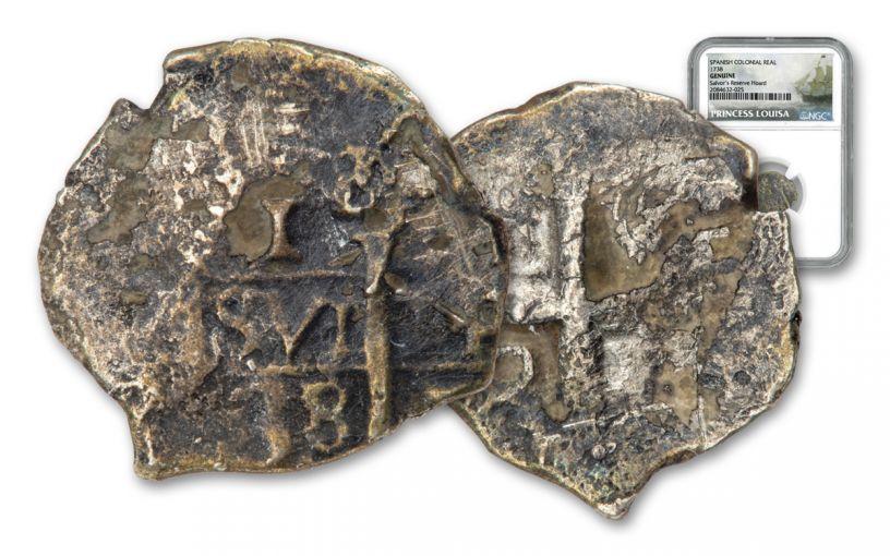 1556-1731 Spain 1 Reale Princess Louisa NGC Genuine Salvor's Reserve Hoard
