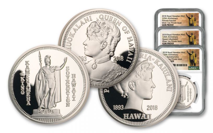 2018 Royal Hawaiian Mint 1-oz Silver 3-Piece Set NGC Gem Proof Kingdom of Hawaii 125th Anniversary