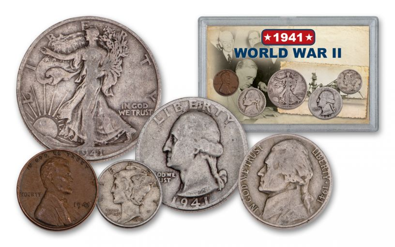 1941 1 Cent - 50 Cent World War II 5-Piece Set VG