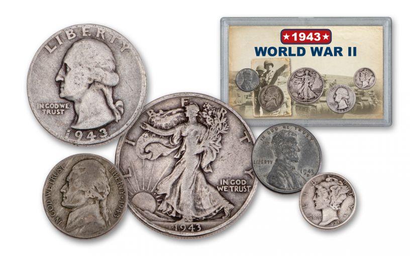 1943 1 Cent – 50 Cents World War II 5-Piece Set VG