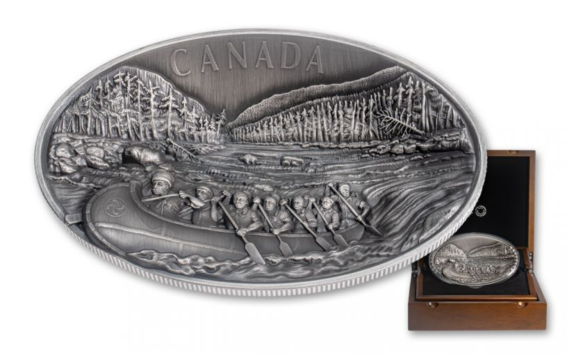 2018 Canada $250 Kilo Silver Voyageurs Dome Concave Ultra-High Relief Antiqued BU