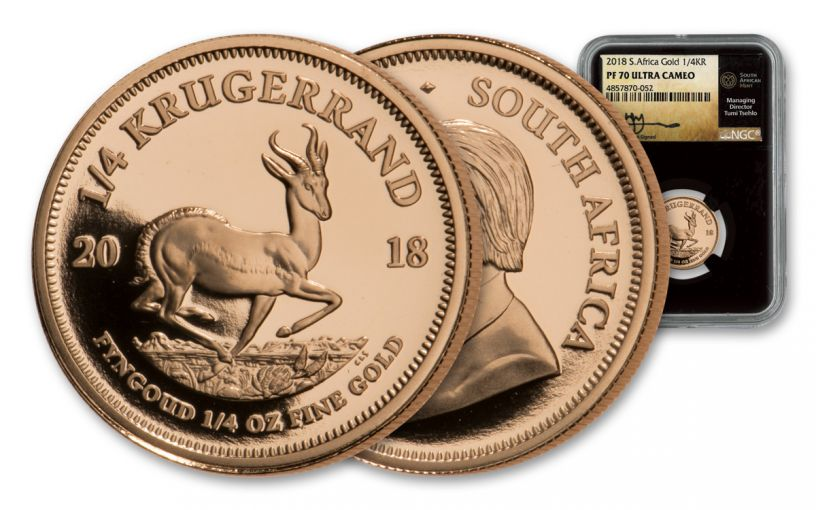 2018 South Africa 1/4-oz Gold Krugerrand NGC PF70UC - Black Core, Tumi Signed Label
