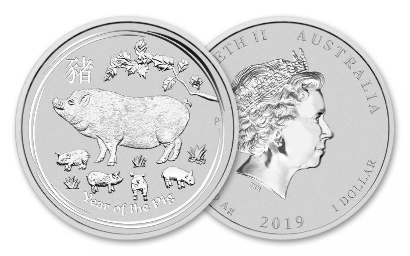 2019 Australia $1 1-oz Silver Lunar Year of the Pig Proof