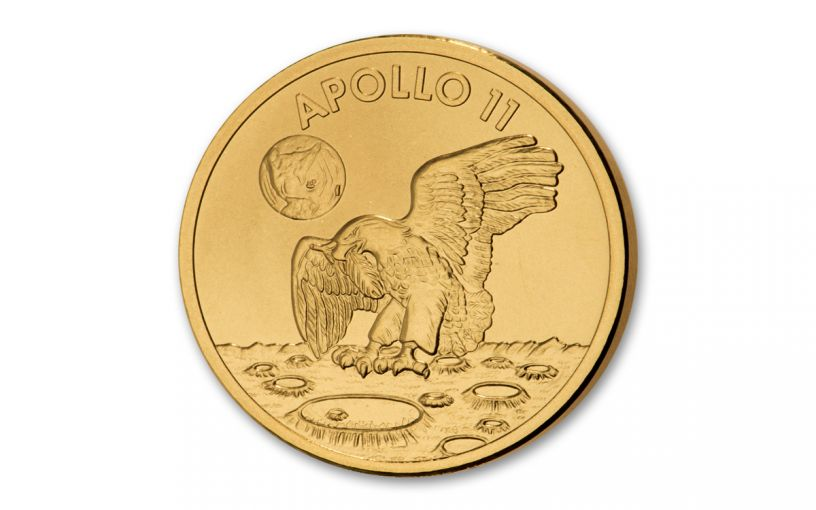 Apollo 11 Robbins Medal 1/2-oz Gold Matte Proof - 50th Anniversary Commemorative