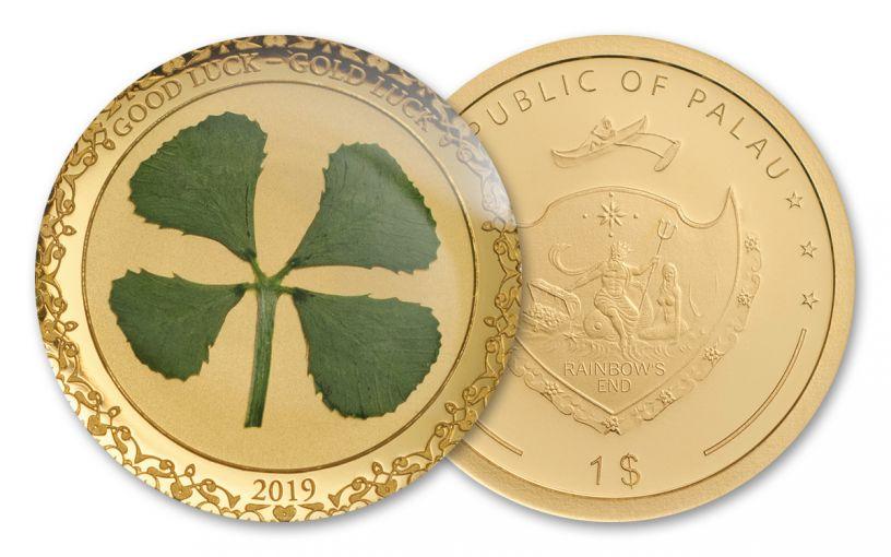 2019 Palau $1 1-Gram Gold Four Leafed Clover Enameled Proof
