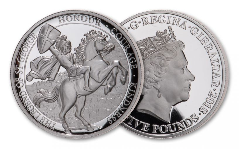 2018 Gibraltar £5 1-oz Silver Legend of Saint George Shield High Relief Proof-Like Coin