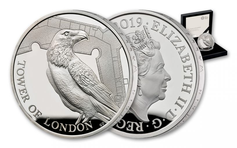 2019 Great Britain £5 Silver Tower of London Ravens Proof
