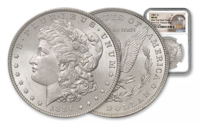 1886-P Morgan Silver Dollar New York Bank Hoard Treasury NGC MS63 20-Piece Roll