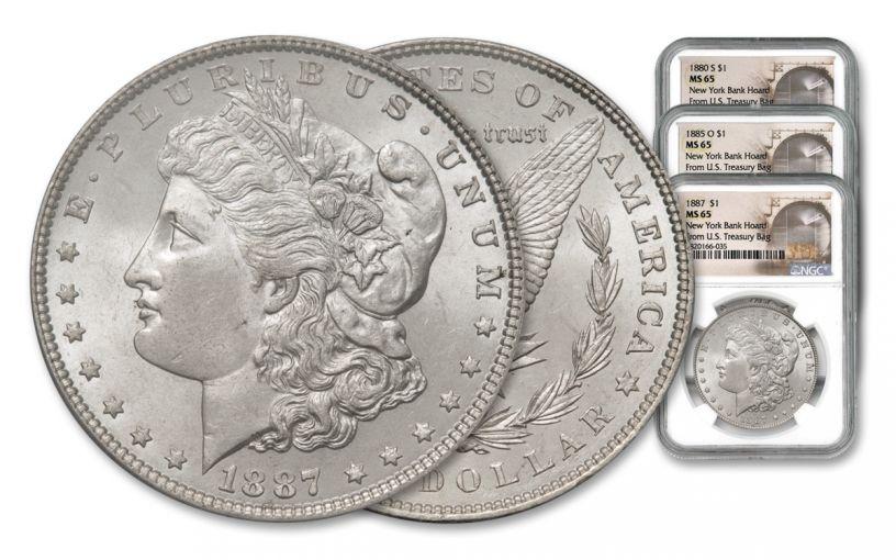 1880-1887-P/O/S $1 Morgan New York Bank Hoard 3-pc Set NGC MS65