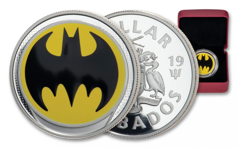 2019 Barbados $1 3/4-oz Silver Glow-In-The-Dark Bat Signal Colorized Proof