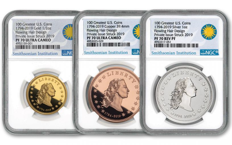 1794-2019 America's First Silver Dollar 1/2-oz Gold/ 1-oz Silver/Copper 3-Piece Set NGC PF70UC - Smithsonian Label